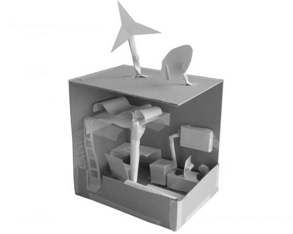 """Raummodell aus Karton (Immagine: aus der Projektwoche """"Lichtidee und Stadtgestalt"""")"""