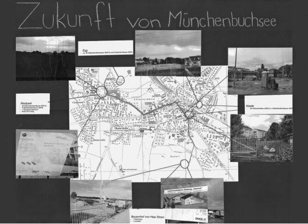 """Dokumentation der Bauvorhaben in der Gemeinde mittels Fotos und einem Ortsplan. (Image: aus dem Lehrmittel """"Bauten, Städte, Landschaften"""")"""