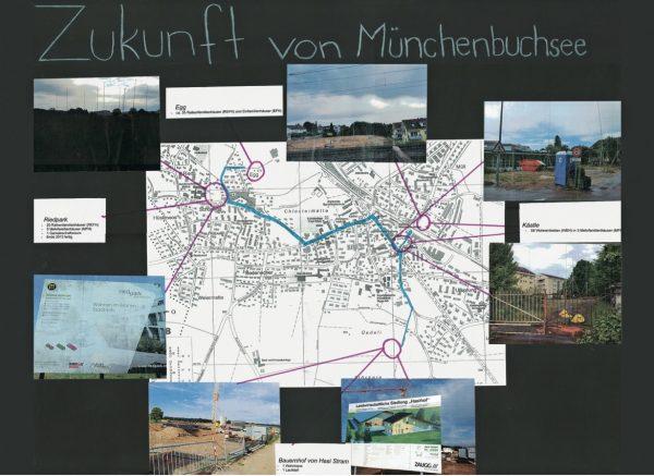 """Dokumentation der Bauvorhaben in der Gemeinde mittels Fotos und einem Ortsplan. (Immagine: aus dem Lehrmittel """"Bauten, Städte, Landschaften"""")"""
