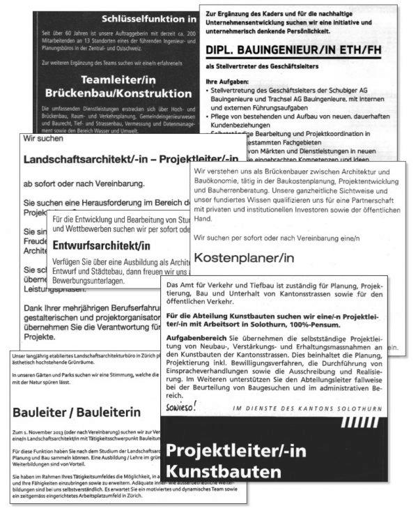 """Inserate der Baubranche (Bild: Lehrmittel """"Bauten, Städte, Landschaften"""")"""
