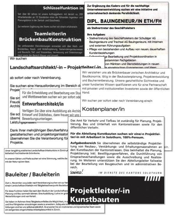 """Inserate der Baubranche (Immagine: Lehrmittel """"Bauten, Städte, Landschaften"""")"""