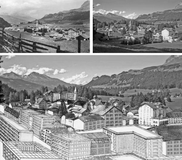"""Parpan früher – heute – zukünftig (Immagine: Lehrmittel """"Bauten, Städte,Landschaften"""")"""
