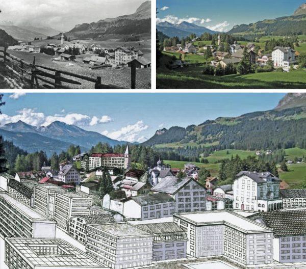 """Parpan früher – heute – zukünftig (Image: Lehrmittel """"Bauten, Städte,Landschaften"""")"""