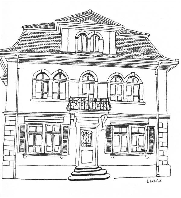 """Zeichnung eines Gebäudes am Wohnort (Bild: Lehrmittel """"Bauten, Städte, Landschaften"""")"""