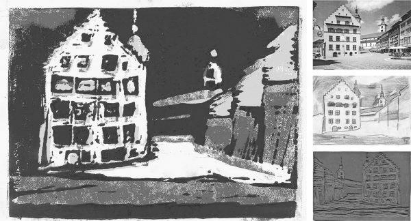 """Mehrfarbiger Linolschnitt – Ausgangsfoto – Umzeichnung und Druckplatte (Immagine: Lehrmittel """"Bauten, Städte, Landschaften"""")"""