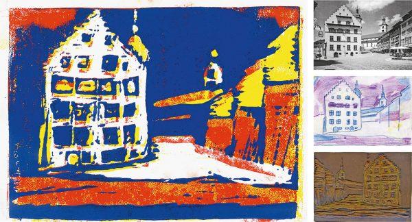 """Mehrfarbiger Linolschnitt – Ausgangsfoto – Umzeichnung und Druckplatte (Bild: Lehrmittel """"Bauten, Städte, Landschaften"""")"""