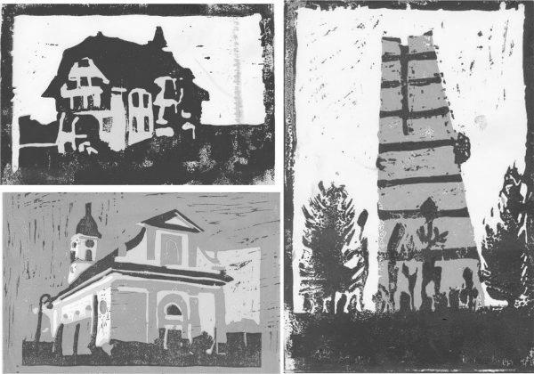 """Ortsbildermappe Sursee, Linolschnitte (Immagine: Lehrmittel """"Bauten, Städte, Landschaften"""")"""