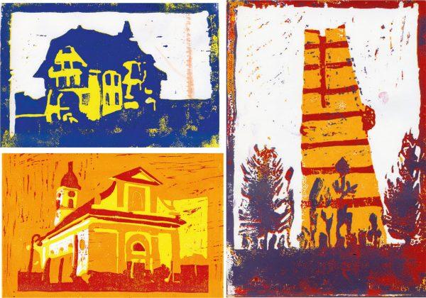 """Ortsbildermappe Sursee, Linolschnitte (Bild: Lehrmittel """"Bauten, Städte, Landschaften"""")"""