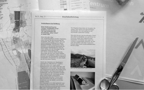 """Zonenplan und Beispiel für eine Zeitungsseite über ein Neubauprojekt (Image: aus dem Lehrmittel """"Bauten, Städte, Landschaften"""")"""