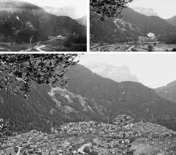 """Andeer1910 –2010 – 2110 (Image: Lehrmittel """"Bauten, Städte,Landschaften"""")"""