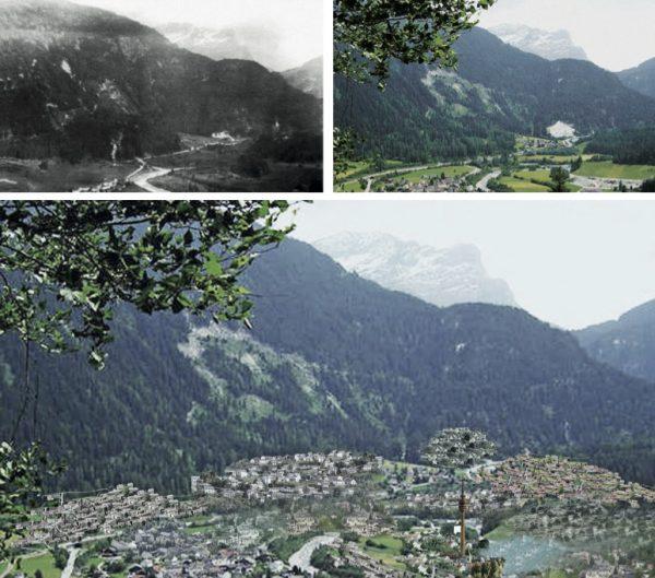 """Andeer1910 –2010 – 2110 (Immagine: Lehrmittel """"Bauten, Städte,Landschaften"""")"""
